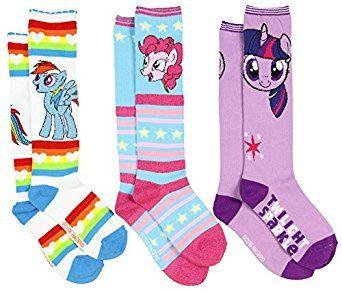 ef509795822 Amazon.com  My Little Pony Girls  Knee High Socks 3 Pack Size 6-8 Rainbow  Dash Pinkie Pie  Clothing
