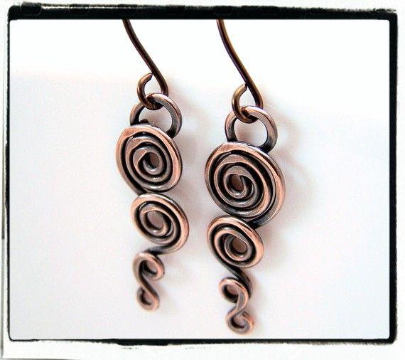 055 Antique Copper Wire Wrapped Heart Link Dangle Earrings ...