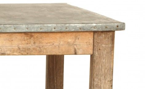 Superbe Antique Zinc Top Work Table