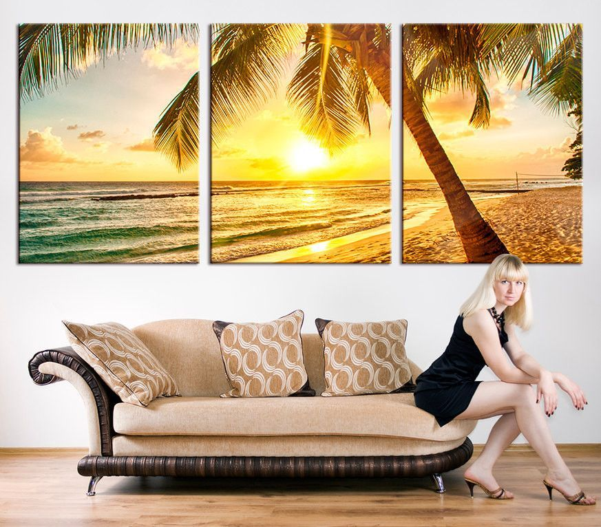 Large Art CANVAS PRINT - Palm and Beach Canvas Print, Palm on the ...