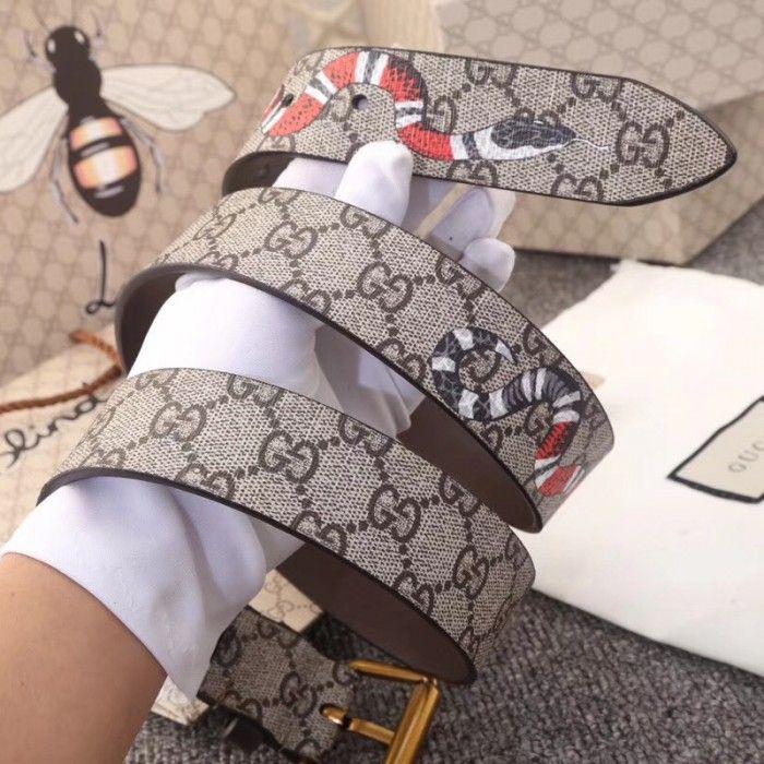 b1490478d Gucci GG Supreme belt with Kingsnake print 434520 in 2019
