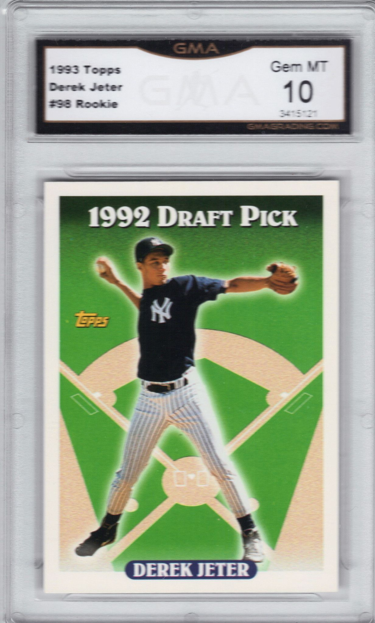 1993 Topps 98 Derek Jeter Rookie Rc Graded 10 Gem Mint