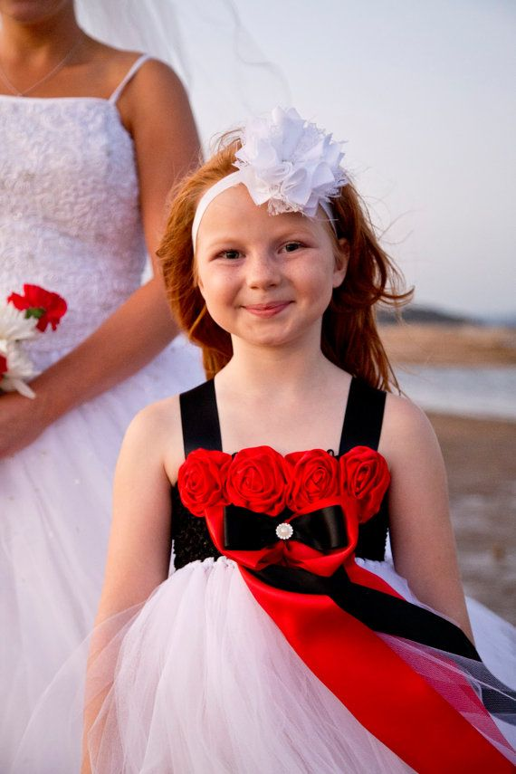 Red Black White Flower Girl Tulle Tutu by OurSweetSomethings4U