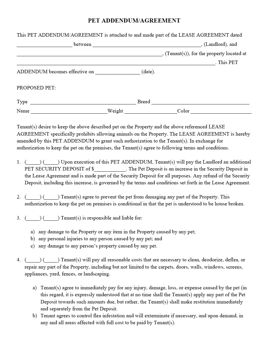 Pet AddendumAgreement Pdf  Property Management Forms