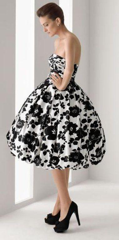 Vestidos blanco y negro flores