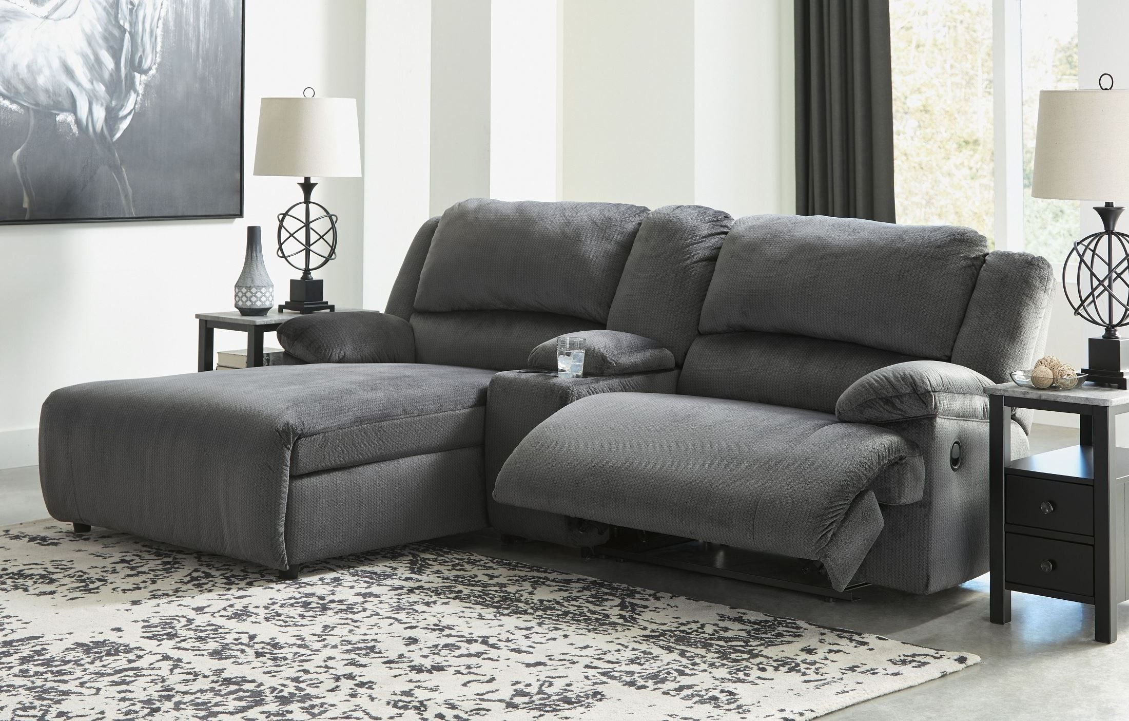 Clonmel Charcoal Small Console Reclining Laf Sectional Reclining Sectional With Chaise Small Sectional Sofa Cheap Decor