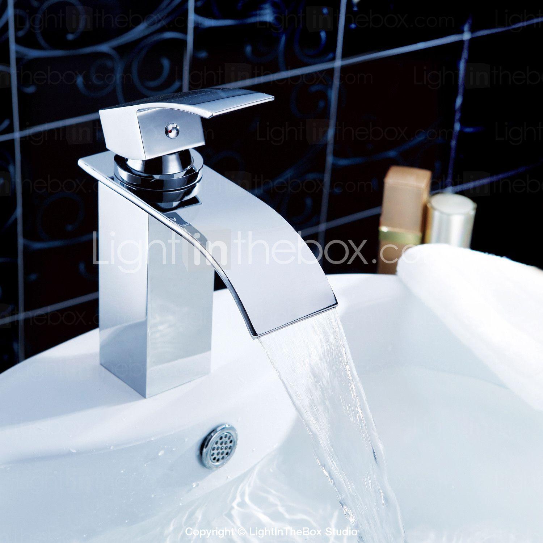 62 03 Lichtthebox Sprinkle Badarmaturen Moderne Chrom Wasserfall Mittelset Ein Loch Badezimmer Waschbecken Waschbecken Wasserhahn