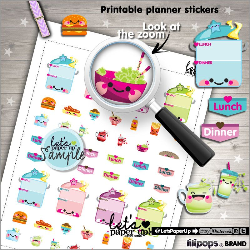 Meal Planner Stickers, Printable Planner Stickers, Food Stickers, Box Stickers, Erin Condren, Kawaii Stickers, Planner Accessories, Meal