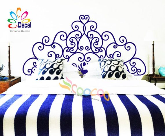 headboard decal vinyl wall decal headboard wall sticker king queen