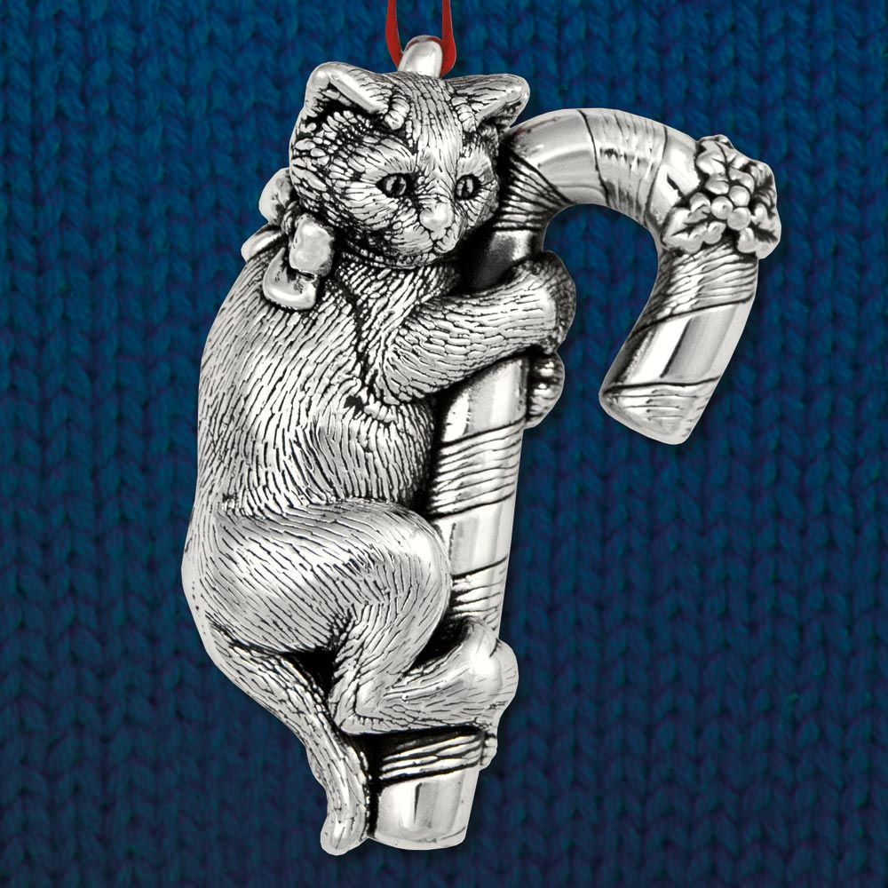 Cat of Mine Kitten on Candy Cane Sterling Ornament Candy