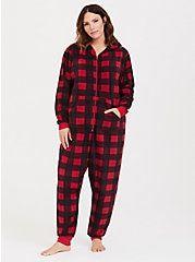 9529978a1dfee Red   Black Checkered Fleece Sleep Onesie