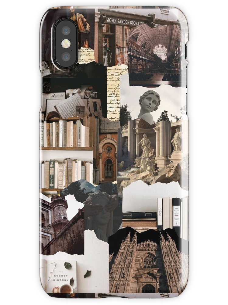 Dark Academia Brown Beige Aesthetic Collage iPhone Case & Cover by ...