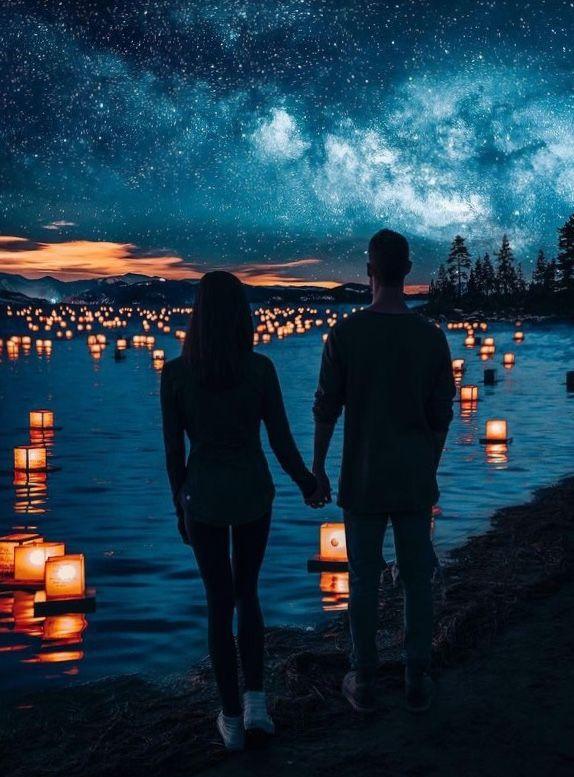 картинка двое у моря ночью добавляем