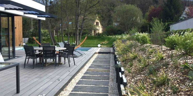 Jardin Contemporain Yvelines Les Mesnuls Talus Ardoise Conception ...