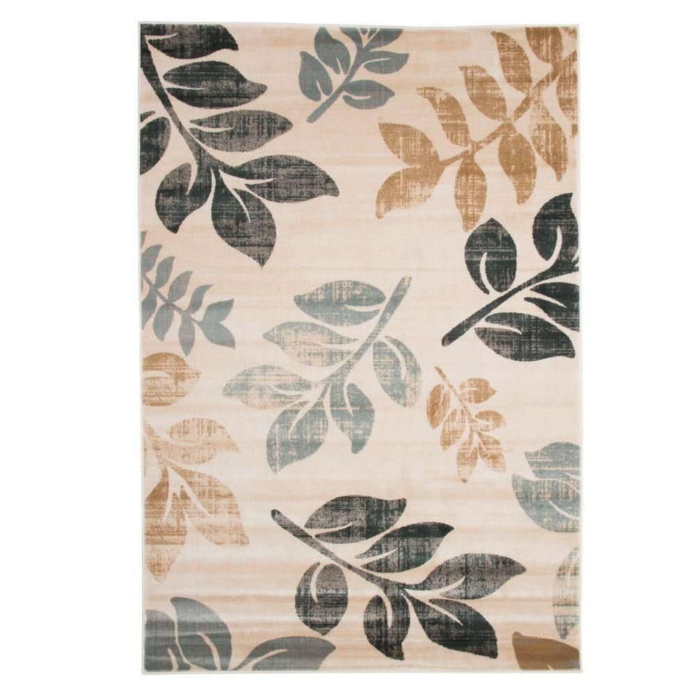 Lavish Home Opus Falling Leaves Cream 5 Ft X 8 Ft Area Rug