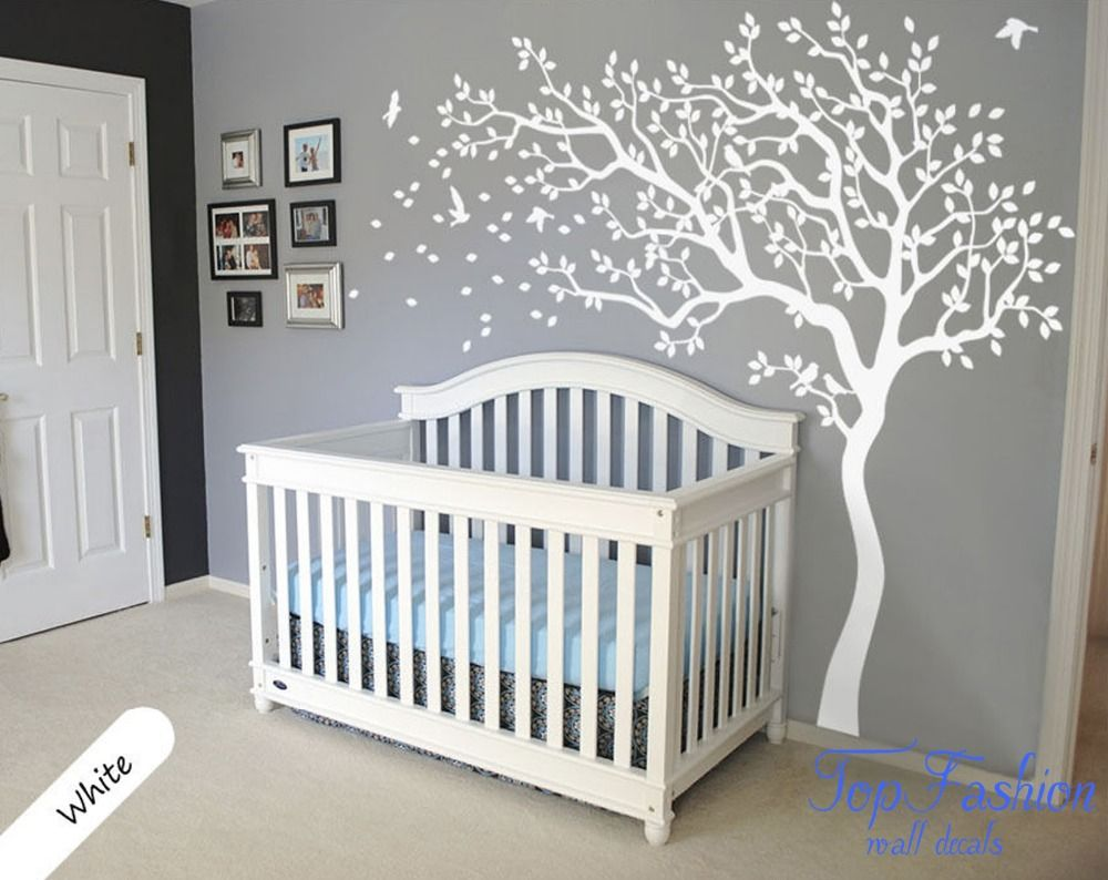 norme blanc arbre wall decal nursery arbre et oiseaux. Black Bedroom Furniture Sets. Home Design Ideas