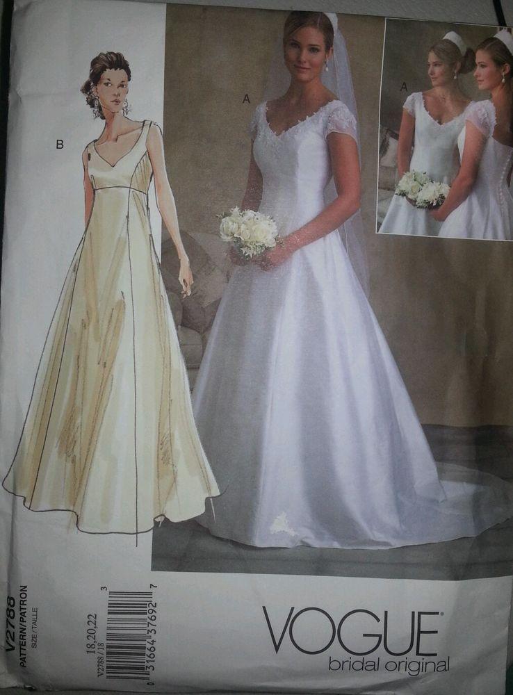 Vogue Bridal Gown Pattern V2788 Plus Size 18 20 22 Wedding