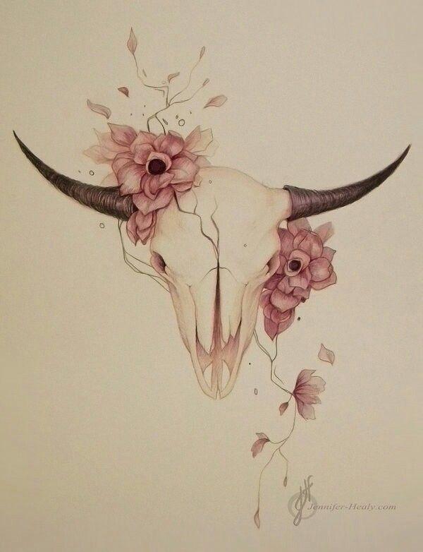 Drawn By Jennifer Heaty Beautiful Animal Skull And Flowers Animal Skull Drawing Animal Skull Tattoos Bull Skull Tattoos