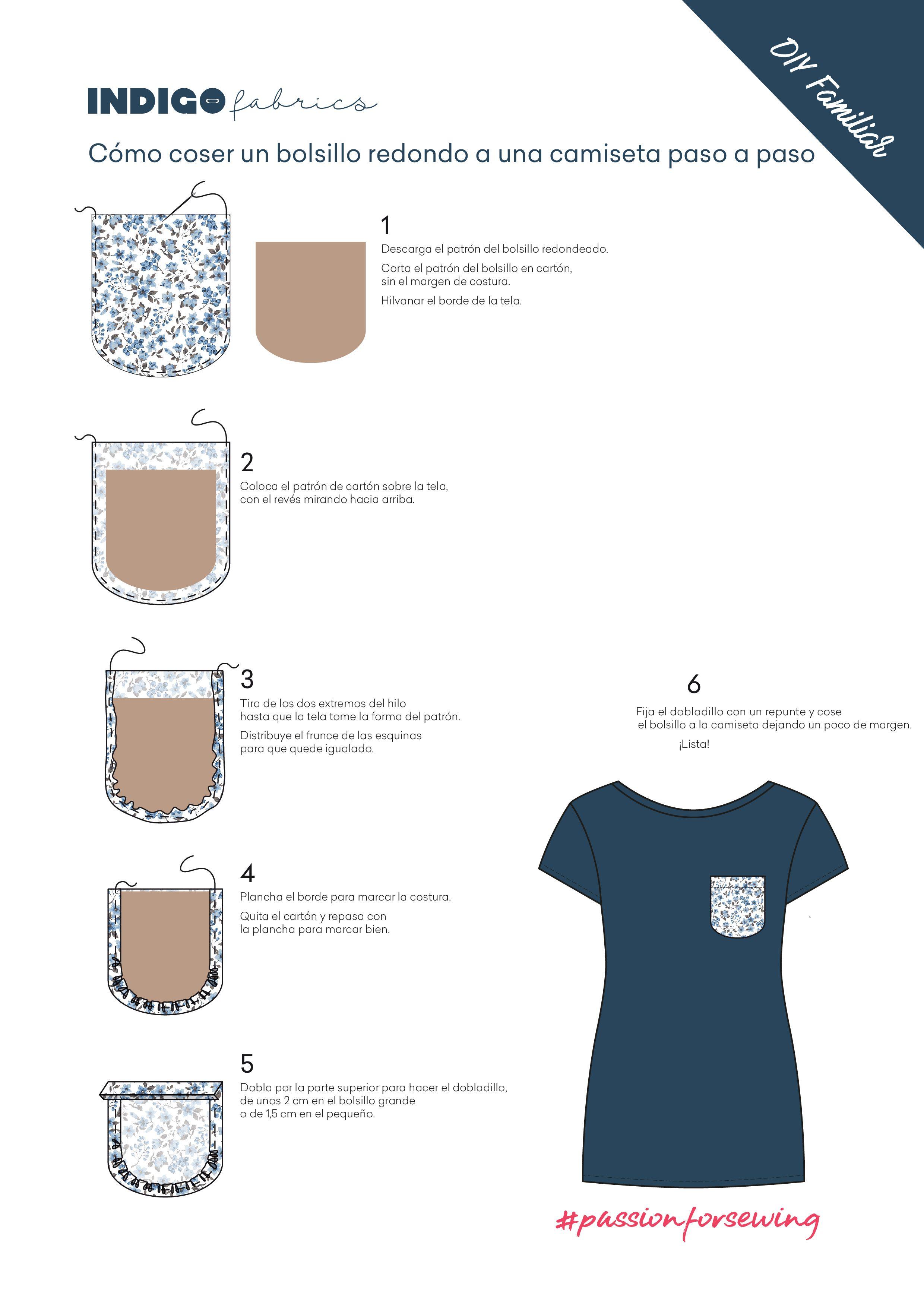 Como coser un bolsillo redondo a una camiseta paso a paso | costura ...