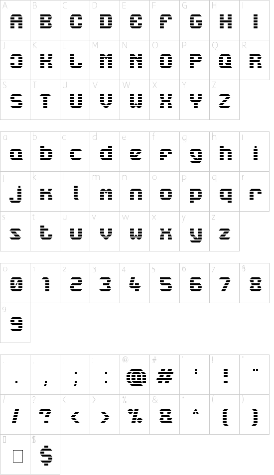 LBC Starlight Font character map