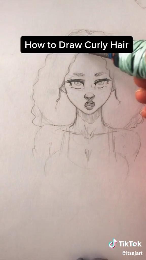 Curly Hair Tutorial Video Face Drawing Art Drawings Sketches Simple Drawings