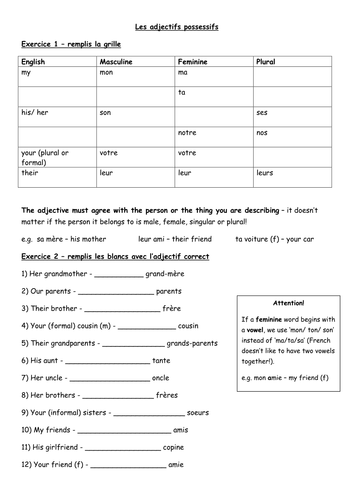 French Possessive Adjectives Families Teaching Resources Learn French French Adjectives French Worksheets