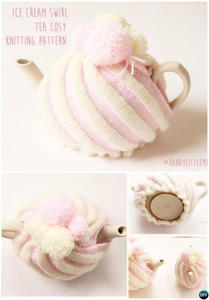 Knit Ice Cream Swirl Tea Cozy Free Pattern-20 Crochet Knit Tea Cozy ...