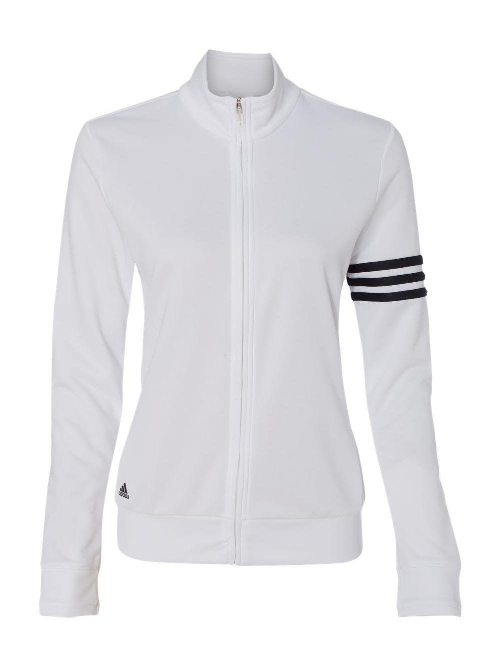 Women Golf Clothing Adidas A191 Ladies Climalite 3stripes Full Zip Pullover Jacket White Black Large French Terry Jacket Pullover Jacket Adidas Women
