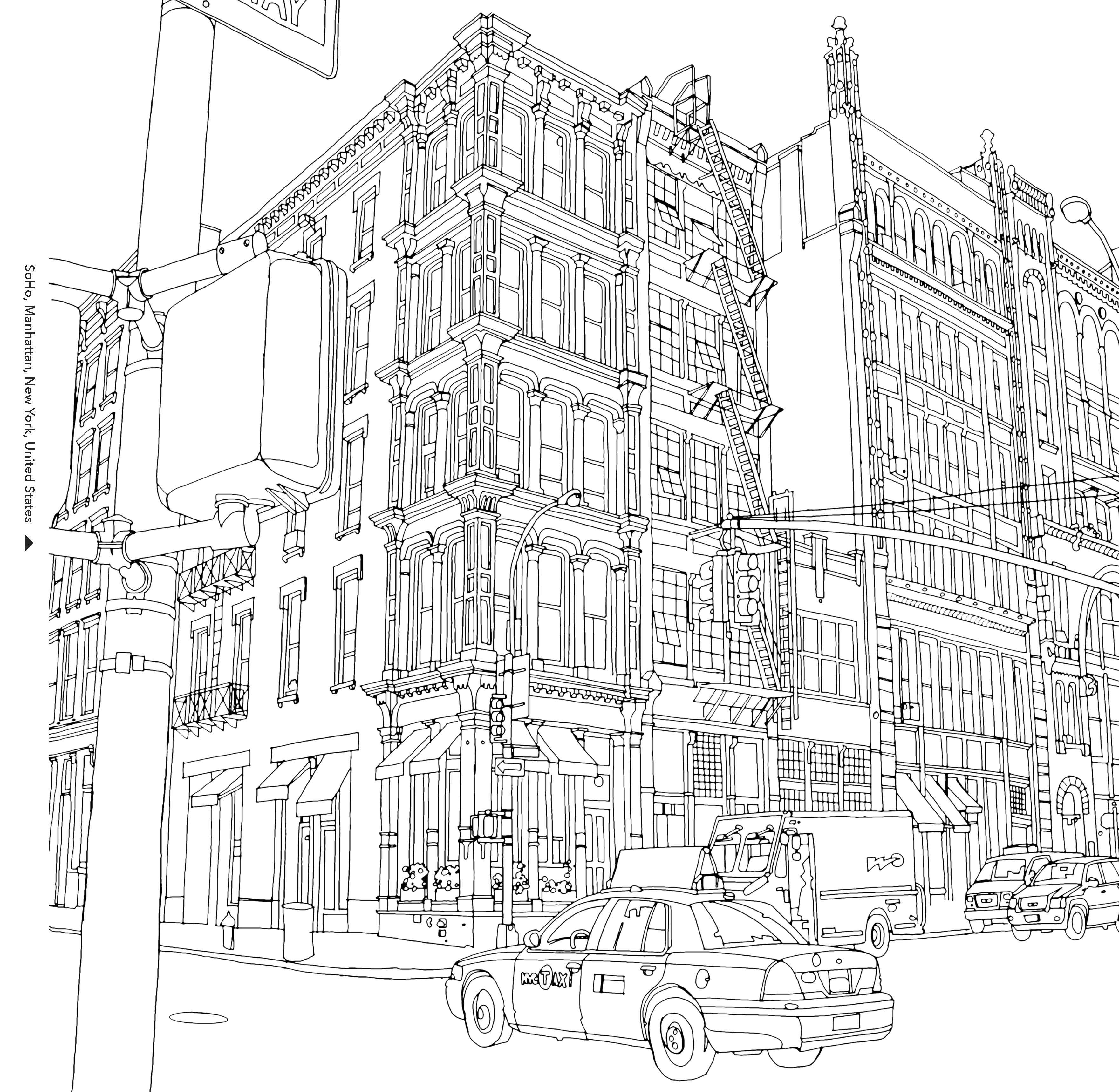 soho new york in fantastic cities image via chronicle books - New York City Coloring Pages