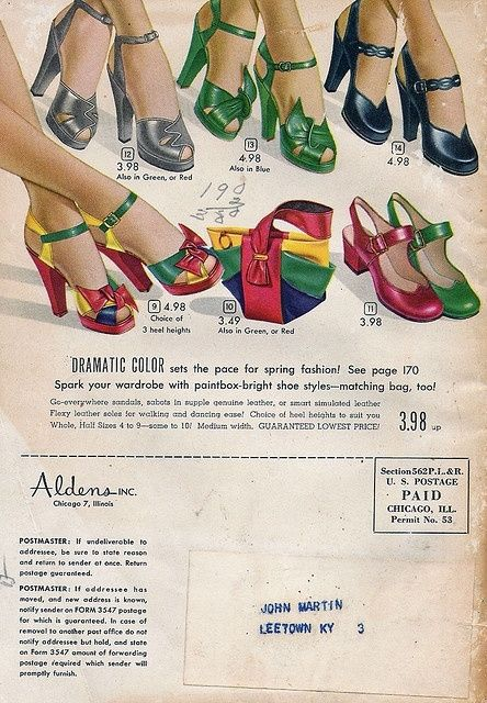 Colourful, absolutely lovely heels from a 1949 Alden's catalog.