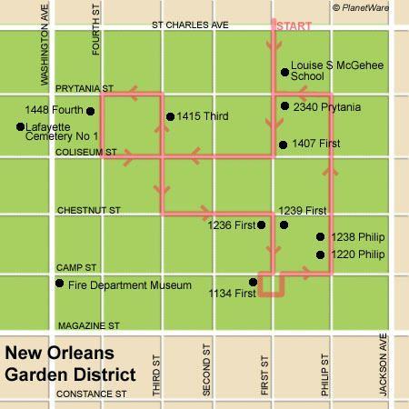 garden district new orleans walking tour map. New Orleans Garden District - Floor Plan Map Walking Tour A