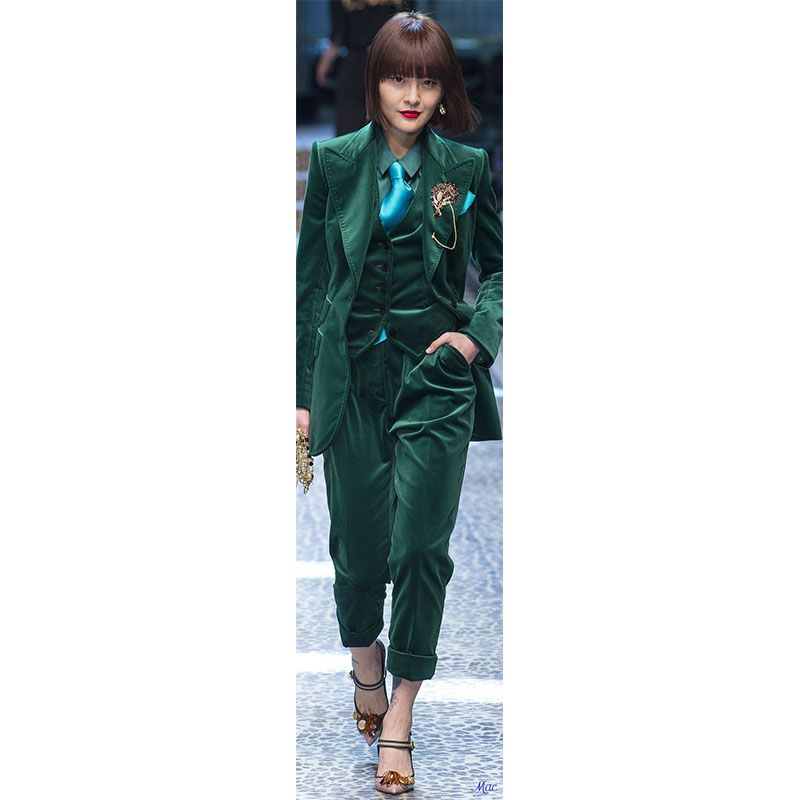 b18f7aeb9d5 CUSTOM Dark green women business suits 3 piece set women tuxedo female  trouser suit ladies office