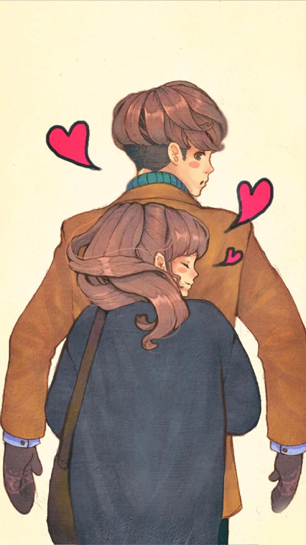 Back hug · jp forever ❤ ❤ love illustration art love couple love cartoon couple