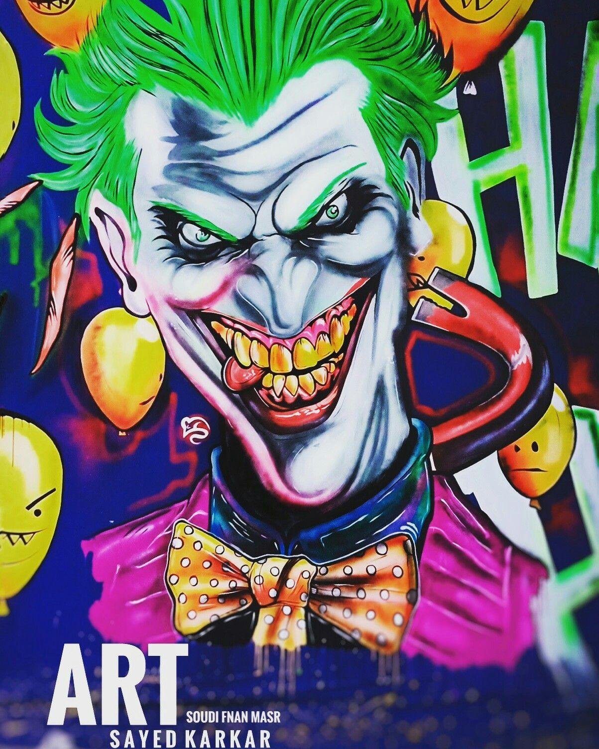 Joker Art رسم جرافيتي فسفوري Graffiti Art Graffiti Cellphone Wallpaper