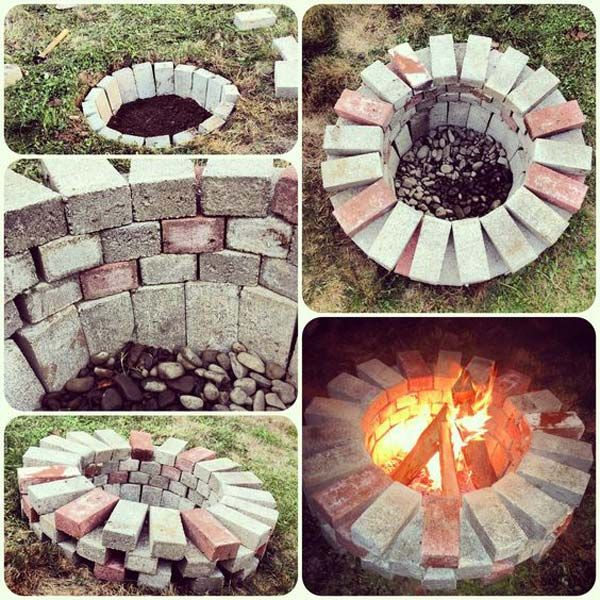 8. Easy way to build a fire pit does not require any other materials. | DIY Ideas For Creating Cool Garden or Yard Brick Projects