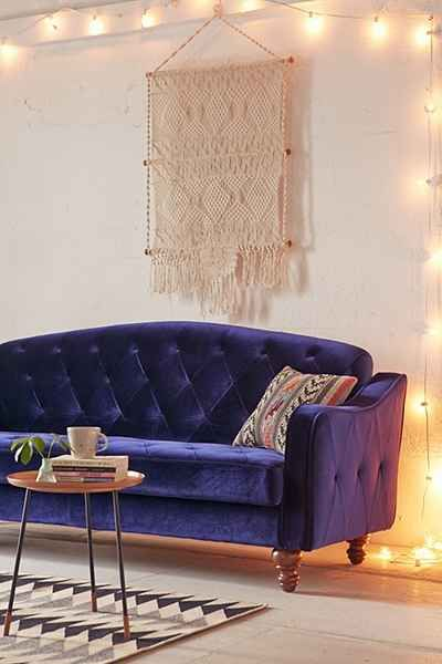 Ava Velvet Tufted Sleeper Sofa Apartment Furniture Furniture
