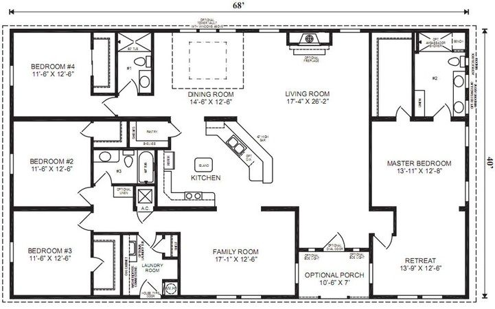 4 Bedrooms 4 Bathroom Universal Design House Plans Small Bathroom Decorating Ideas Imag Modular Home Floor Plans Ranch House Floor Plans Basement House Plans