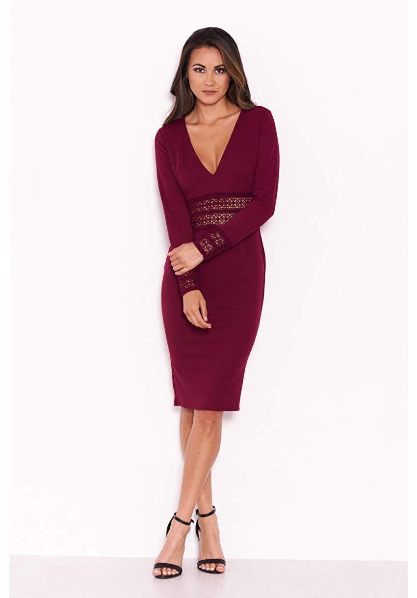 883087e038df AX Paris Women's Crochet Detail Bodycon Midi Dress at Amazon Women's  Clothing store: