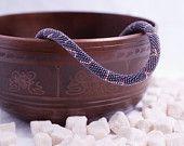"ON SALE Bead Crochet Necklace ""The winter sky"""