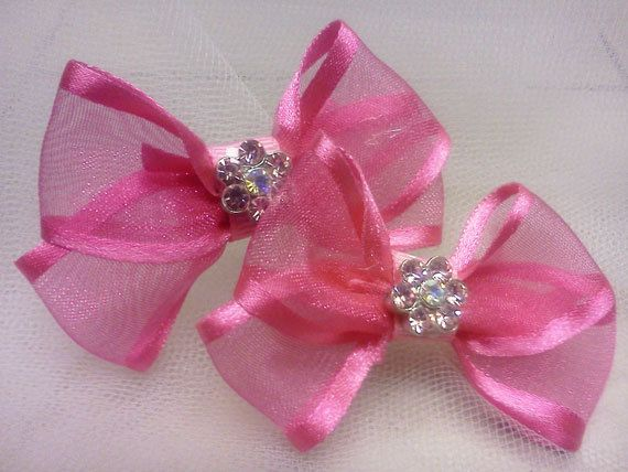 Set of Two Hot Pink Bows by HodgePodgeBowtique on Etsy, $5.00