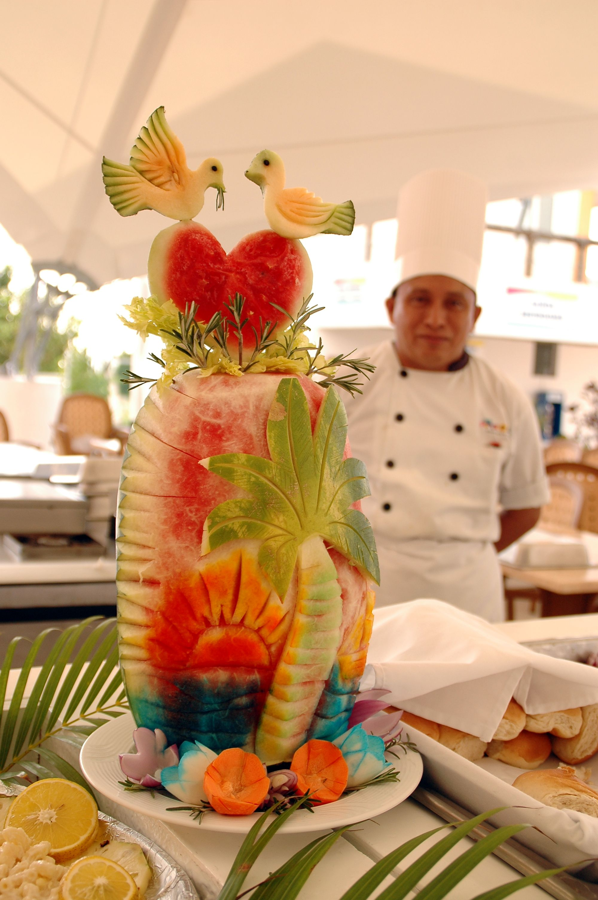Creative Fruit Decoration At Destination Wedding Reception