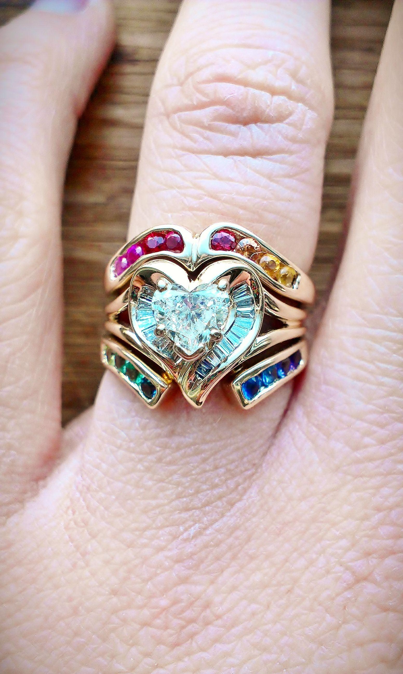 my rainbow heart wedding rings august 3rd 2013 3