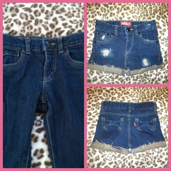 Cute lil shorts I made out of some old pants..! ripped distress jean shorts with pocket bows  r0c_x0xo™