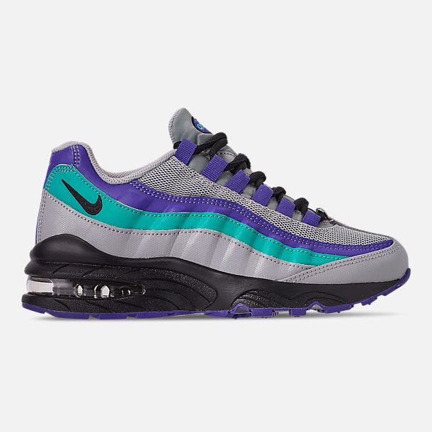 c997653e814d1 Right view of Boys' Big Kids' Nike Air Max 95 Casual Shoes in Wolf Grey/ Black/Indigo Burst