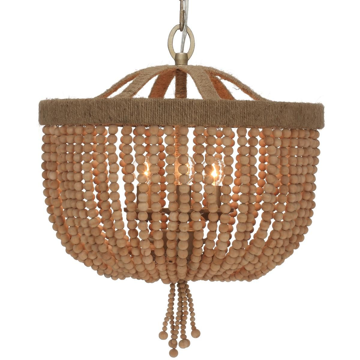 Wood Bead Basket and Jute Frame Mini Chandelier Wood bead basket