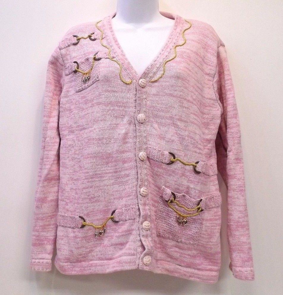 Details about Storybook Knits Pink Cardigan Sweater Charming Lady ...