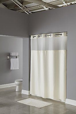 Shower Curtains 20441 Hookless Fabric Curtain With Built In Liner Beige BUY