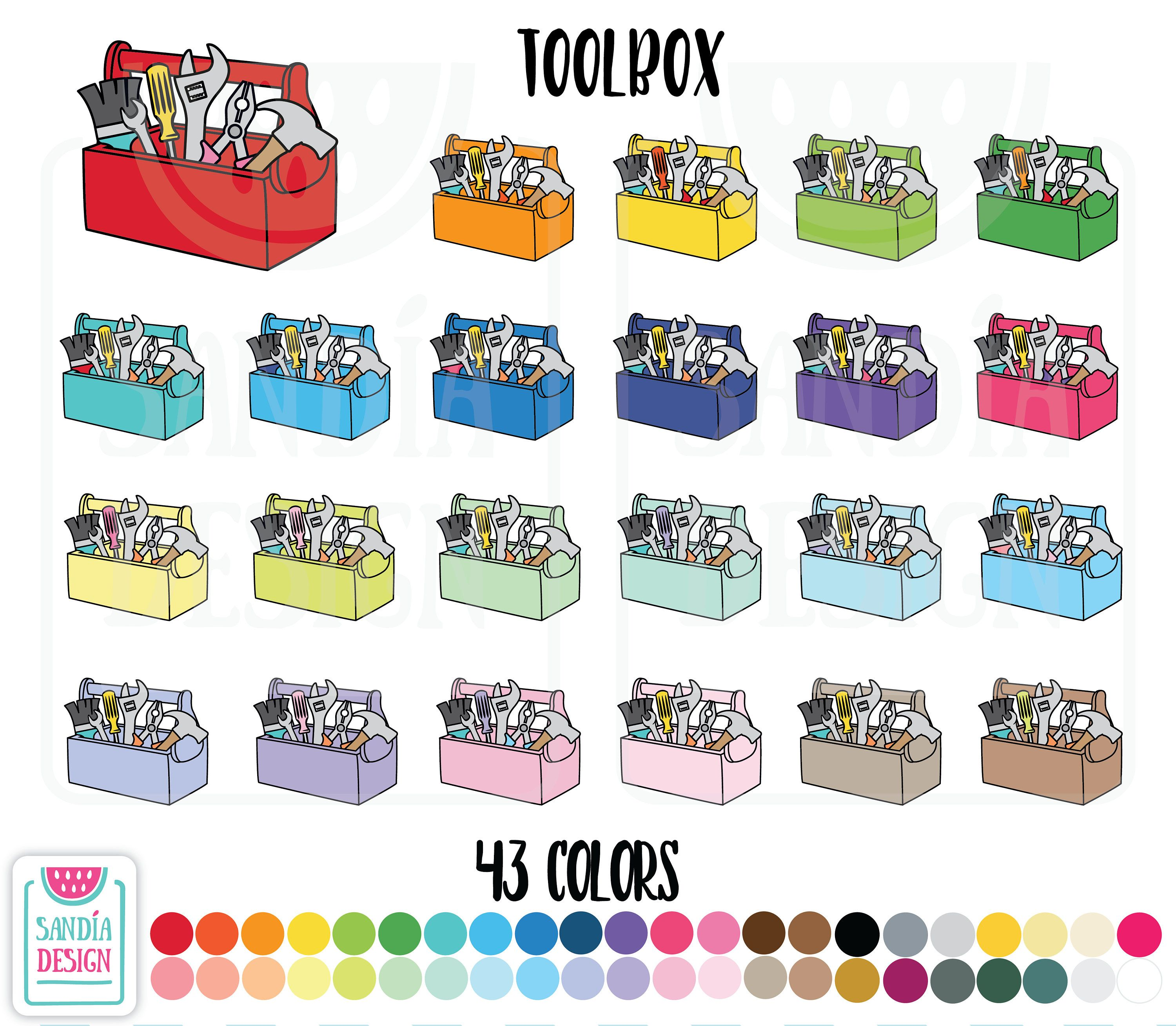 toolbox clipart personal and comercial use by sandiadesign on etsy [ 3000 x 2618 Pixel ]