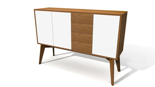 Charlet design - white & wood sideboard