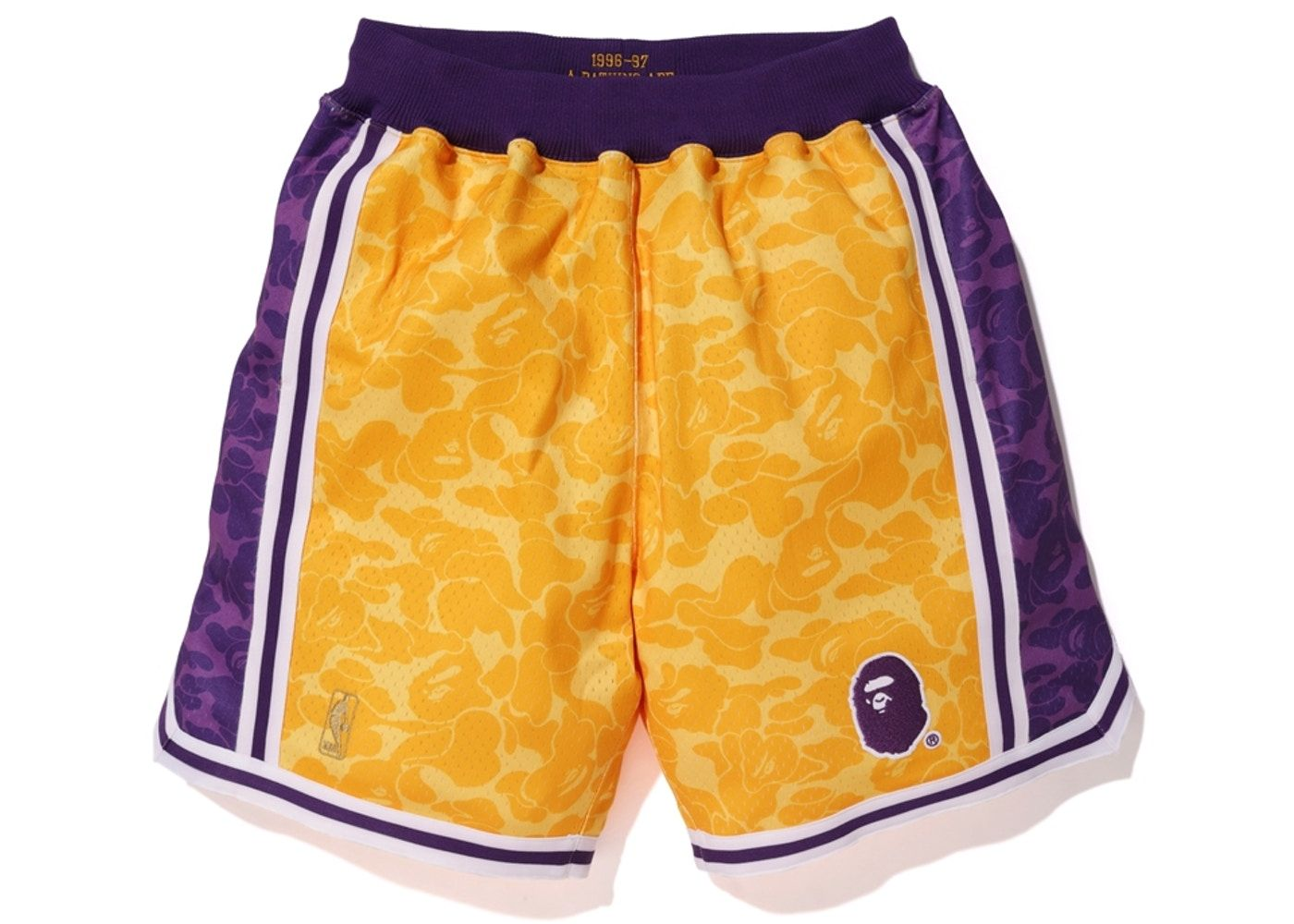 BAPE x Mitchell   Ness Lakers ABC Basketball Authentic Shorts Yellow ... 4212363a5